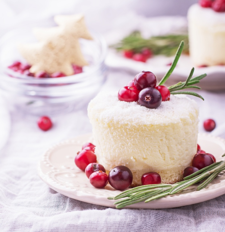 Mini cheesecake with cranberries