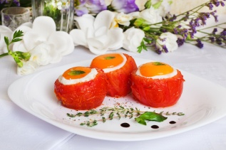 tomatoes stuffed eggs with basil and thyme sauce feeding festive celebration beautiful still life