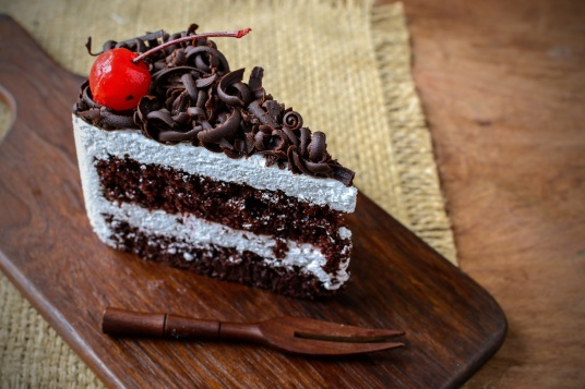 Black Forest, Chocolate cake on wooden table