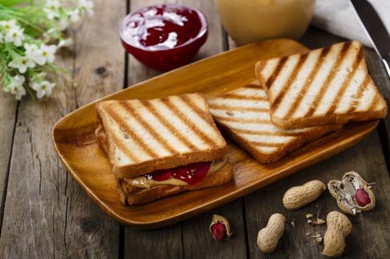 peanut butter sandwich with jam