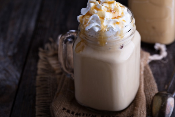 Iced coffee with caramel and whipped cream
