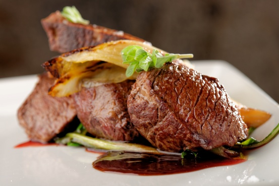 Venison meat steak with vegetable