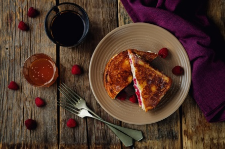 Ricotta raspberry stuffed French Toasts. toning. selective focus