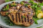 Grilled pork chops with lettuce salad, delish grilled meal