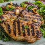 Grilled pork chops with lettuce salad, delish grilled meal