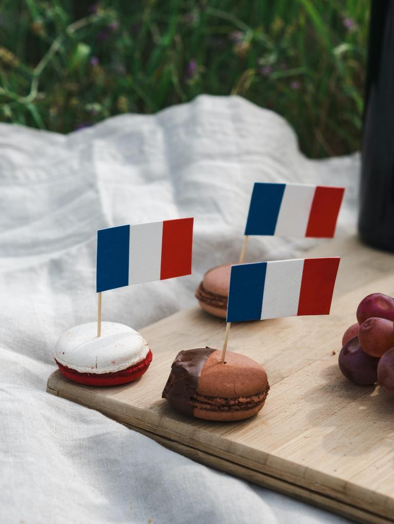 French Macarons with French flags on them